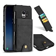 Недорогие Чехлы и кейсы для Galaxy S8-Кейс для Назначение SSamsung Galaxy S9 S9 Plus Бумажник для карт Кошелек Кейс на заднюю панель Однотонный Твердый Настоящая кожа для S9