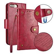 Недорогие Кейсы для iPhone 8-Кейс для Назначение Apple iPhone X iPhone 8 Бумажник для карт Кошелек Флип Магнитный Чехол Однотонный Твердый Кожа PU для iPhone X iPhone
