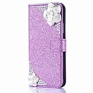 Недорогие Кейсы для iPhone 8-Кейс для Назначение Apple iPhone X iPhone 8 Plus Бумажник для карт Кошелек Стразы со стендом Флип Магнитный Чехол Цветы Сияние и блеск