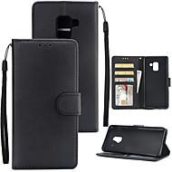 Недорогие Чехлы и кейсы для Galaxy А-Кейс для Назначение SSamsung Galaxy A8 2018 A8 Plus 2018 Бумажник для карт Кошелек Защита от удара Флип Чехол Однотонный Твердый Кожа PU