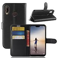 preiswerte Handyhüllen-Hülle Für Huawei P20 lite P20 Kreditkartenfächer Geldbeutel mit Halterung Flipbare Hülle Ganzkörper-Gehäuse Solide Hart PU-Leder für