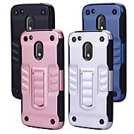 お買い得  携帯電話ケース-ケース 用途 Motorola G4 Plus 耐衝撃 スタンド付き バックカバー ソリッド ハード PC のために Moto G4 Plus Moto G4 Play MOTO G4