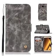 Недорогие Чехлы и кейсы для Galaxy A3(2016)-Кейс для Назначение SSamsung Galaxy A8 2018 A8 Plus 2018 Бумажник для карт Кошелек Флип Магнитный Чехол Однотонный Твердый Кожа PU для A3