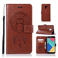Недорогие Чехлы и кейсы для Galaxy А-Кейс для Назначение SSamsung Galaxy A8 2018 A8 Plus 2018 Бумажник для карт Кошелек Флип Чехол Сова Твердый Кожа PU для A3 (2017) A5