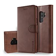 Недорогие Чехлы и кейсы для Galaxy S9 Plus-Кейс для Назначение SSamsung Galaxy S9 S9 Plus Бумажник для карт Кошелек со стендом Флип Чехол Однотонный Твердый Кожа PU для S9 Plus S9