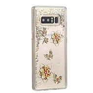 Недорогие Чехлы и кейсы для Galaxy Note 8-Кейс для Назначение SSamsung Galaxy Note 8 Движущаяся жидкость Кейс на заднюю панель Бабочка Сияние и блеск Твердый ПК для Note 8