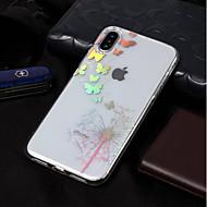 Недорогие Кейсы для iPhone 8 Plus-Кейс для Назначение Apple iPhone X / iPhone 8 Покрытие / С узором Кейс на заднюю панель Бабочка / одуванчик Мягкий ТПУ для iPhone X /