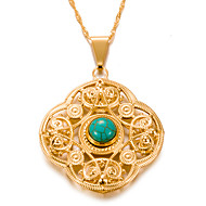 cheap -Women's Bohemian Turquoise Gold Plated Pendant Necklace  -  Bohemian Geometric Gold 7#5#1cm Necklace For Party / Evening