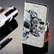 お買い得  携帯電話ケース-ケース 用途 Huawei P20 lite P20 Pro カードホルダー ウォレット スタンド付き フリップ 磁石バックル フルボディーケース スカル ハード PUレザー のために Huawei P20 lite Huawei P20 Pro Huawei P20