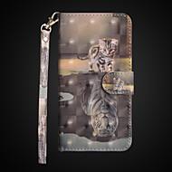 Недорогие Кейсы для iPhone 8 Plus-Кейс для Назначение Apple iPhone X / iPhone 8 Plus Кошелек / Защита от удара / со стендом Чехол Кот Твердый Кожа PU для iPhone X / iPhone