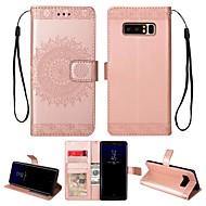Недорогие Чехлы и кейсы для Galaxy Note-Кейс для Назначение SSamsung Galaxy Note 8 Бумажник для карт / Кошелек / со стендом Чехол Однотонный Твердый Кожа PU для Note 8