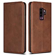 Недорогие Чехлы и кейсы для Galaxy S8-Кейс для Назначение SSamsung Galaxy S9 S9 Plus Бумажник для карт Кошелек Флип Чехол Однотонный Твердый Кожа PU для S9 Plus S8