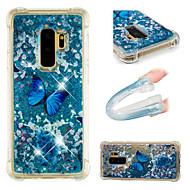 Недорогие Чехлы и кейсы для Galaxy S9-Кейс для Назначение SSamsung Galaxy S9 / S9 Plus Защита от удара / Движущаяся жидкость / С узором Кейс на заднюю панель Бабочка / Сияние