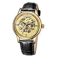 お買い得  -CADISEN 男性用 機械式時計 日本産 50 m 耐水 透かし加工 本革 バンド ハンズ ぜいたく ヴィンテージ ブラック / ブラウン - ゴールド ローズゴールド / ステンレス
