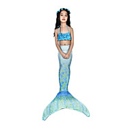 The Little Mermaid Swimwear / Bikini / Costume Women's Halloween / Carnival Festival / Holiday Halloween Costumes Ink Blue Vintage Mermaid and Trumpet Gown Slip / Bikini