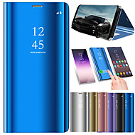 cheap Cell Phone Cases-Case For Huawei Huawei P smart with Stand / Plating / Mirror Full Body Cases Solid Colored Hard PU Leather for Huawei P smart