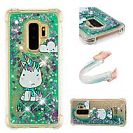Недорогие Чехлы и кейсы для Galaxy S9 Plus-Кейс для Назначение SSamsung Galaxy S9 / S9 Plus Защита от удара / Движущаяся жидкость / С узором Кейс на заднюю панель единорогом /