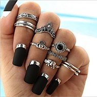 cheap -alloy heart / elephant band ring / ring set - 8pcs geometric / circle bohemian / vintage silver ring for holiday / gift