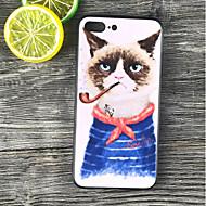 Недорогие Кейсы для iPhone 8-Кейс для Назначение Apple iPhone X / iPhone 8 Plus Защита от удара / Матовое / С узором Кейс на заднюю панель Кот Твердый ПК для iPhone X