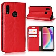 お買い得  携帯電話ケース-ケース 用途 Huawei P20 Pro / P20 lite ウォレット / カードホルダー / フリップ フルボディーケース ソリッド ハード 本革 のために Huawei P20 / Huawei P20 Pro / Huawei P20 lite / P10 Plus / P10 Lite / P10