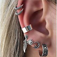 cheap -Women's Bohemian Sun / Moon 7pcs Hoop Earrings / Ear Cuff - Metallic / Bohemian / Ethnic Silver Geometric Earrings For Evening Party /