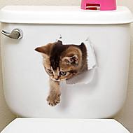 preiswerte -Kühlschrank Sticker Bad Sticker - Tier Wandaufkleber Tiere 3D Wohnzimmer Schlafzimmer Badezimmer Küche Esszimmer Studierzimmer / Büro