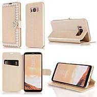 Недорогие Чехлы и кейсы для Galaxy S7-Кейс для Назначение SSamsung Galaxy S9 S9 Plus Бумажник для карт Кошелек Стразы Флип Чехол Однотонный Твердый Кожа PU для S9 Plus S9 S8