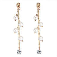 cheap -Women's Long Drop Earrings - Imitation Pearl Creative Ethnic, Sweet, Fashion White / Black For Party / Going out