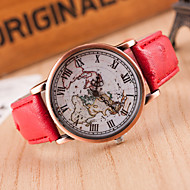 Women's Wrist Watch Chinese Casual Watch Leather Band Fashion / World Map Black / Red / Brown