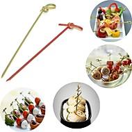 abordables Cubertería-100 unids tenedor desechable de bambú partido retorcido buffet fruta postres sándwich stick pincho
