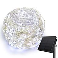 cheap -KWB 10m String Lights 100 LEDs 1Set Mounting Bracket Warm White / White / Blue Solar / Creative / Waterproof Solar Powered 1set