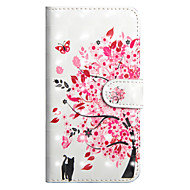 Недорогие Кейсы для iPhone 8-Кейс для Назначение Apple iPhone X / iPhone 8 Plus Кошелек / Бумажник для карт / со стендом Чехол Кот / дерево Твердый Кожа PU для iPhone