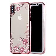 Недорогие Кейсы для iPhone 8 Plus-Кейс для Назначение Apple iPhone X / iPhone 8 Стразы / Покрытие Кейс на заднюю панель Цветы Мягкий ТПУ для iPhone X / iPhone 8 Pluss / iPhone 8