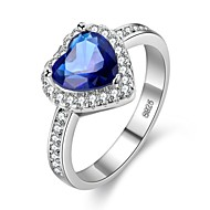 cheap Jewelry & Watches-Women's Sapphire Cubic Zirconia Stack Ring - Platinum Plated, S925 Sterling Silver Heart 6 / 7 / 8 / 9 Blue For Gift Valentine