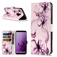 Недорогие Чехлы и кейсы для Galaxy S7 Edge-Кейс для Назначение SSamsung Galaxy S9 Plus / S9 Кошелек / Бумажник для карт / со стендом Чехол Цветы Твердый Кожа PU для S9 / S9 Plus / S8 Plus