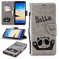 Недорогие Чехлы и кейсы для Galaxy Note 8-Кейс для Назначение SSamsung Galaxy Note 9 / Note 8 Кошелек / Бумажник для карт / со стендом Чехол Панда Твердый Кожа PU для Note 9 / Note 8