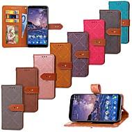 お買い得  携帯電話ケース-ケース 用途 Nokia Nokia 7 Plus / Nokia 6 2018 ウォレット / カードホルダー / スタンド付き フルボディーケース タイル柄 ハード PUレザー のために Nokia 7 Plus / Nokia 6 2018