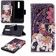 お買い得  携帯電話ケース-ケース 用途 Nokia Nokia 5.1 / Nokia 3.1 ウォレット / カードホルダー / スタンド付き フルボディーケース 象 ハード PUレザー のために Nokia 5 / Nokia 3 / Nokia 2.1
