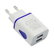 お買い得  iPod 用チャージャー-ポータブルチャージャー USB充電器 EUプラグ マルチシュッ力 USBポート×2 2.1 A 100~240 V