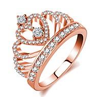 Жен. Стильные Кольцо - Позолоченное розовым золотом, Искусственный бриллиант Корона Дамы, Классика, Романтика, Мода Бижутерия Розовое золото Назначение