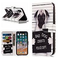 Недорогие Кейсы для iPhone 8-Кейс для Назначение Apple iPhone X / iPhone 8 Plus Кошелек / Бумажник для карт / со стендом Чехол С собакой Твердый Кожа PU для iPhone X / iPhone 8 Pluss / iPhone 8