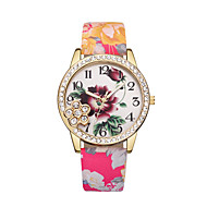 cheap -Women's Wrist Watch Chinese Casual Watch Leather Band Flower / Fashion Black / Blue / Red