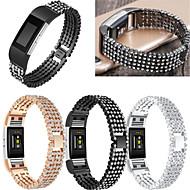 Недорогие Аксессуары для смарт-часов-Ремешок для часов для Fitbit Charge 2 Fitbit Спортивный ремешок / Дизайн украшения Нержавеющая сталь / Керамика Повязка на запястье