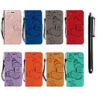 Недорогие Чехлы и кейсы для Galaxy A3(2016)-Кейс для Назначение SSamsung Galaxy A8 2018 / A6 (2018) Кошелек / Бумажник для карт / со стендом Чехол Бабочка Твердый Кожа PU для A6 (2018) / A6+ (2018) / A3 (2017)