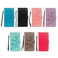 preiswerte Handyhüllen-Hülle Für Huawei P20 / P8 Lite (2017) Geldbeutel / Kreditkartenfächer / mit Halterung Ganzkörper-Gehäuse Schmetterling / Blume Hart PU-Leder für Huawei P20 / Huawei P20 lite / P10 Lite