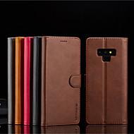 Недорогие Чехлы и кейсы для Galaxy Note 8-Кейс для Назначение SSamsung Galaxy Note 9 / Note 8 Кошелек / Бумажник для карт / со стендом Чехол Однотонный Твердый Кожа PU для Note 9 / Note 8