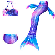 cheap -Kids Girls' Active Cute Mermaid Tail Color Block Sleeveless Polyester Swimwear Purple