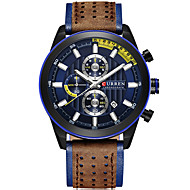 cheap Jewelry & Watches-Men's Wrist Watch Quartz Water Resistant / Water Proof Calendar / date / day Chronograph Genuine Leather Band Analog Luxury Bangle Black / Blue / Red - Blue Silver / Blue Black / Rose Gold