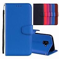 Недорогие Чехлы и кейсы для Galaxy A7(2016)-Кейс для Назначение SSamsung Galaxy A8 2018 / A6 (2018) Бумажник для карт / со стендом / Флип Чехол Однотонный Твердый Кожа PU для A5(2018) / A6 (2018) / A6+ (2018)