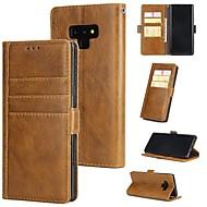 Недорогие Чехлы и кейсы для Galaxy Note 8-Кейс для Назначение SSamsung Galaxy Note 9 / Note 8 Кошелек / Бумажник для карт / со стендом Чехол Однотонный Твердый Настоящая кожа для Note 9 / Note 8